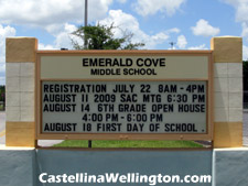 The highly-rated Emerald Cove middle school in Wellington, FL is just a short drive from Castellina across US-441.