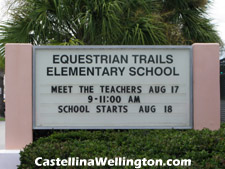 Wellington's well-regarded Equestrian Trails elementary school is on Stribling Way (the road Castellina fronts onto) just across US-441. Dropping the kids off at school could not be easier.